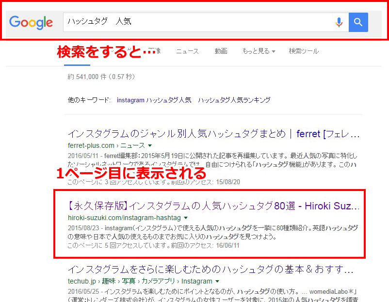 1ページ目に表示される